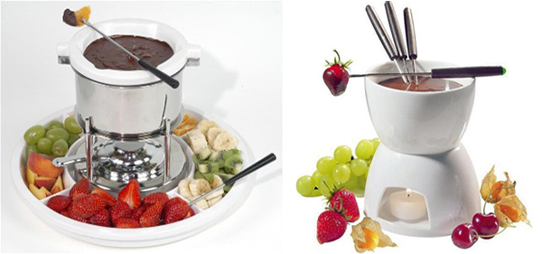 Chocolate fondue with roses for extra glam
