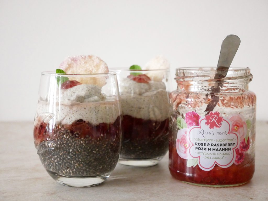Chia pudding with cashew and rose raspberry jam