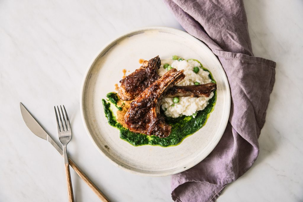 Rose jam glazed lamb chops with wild garlic pesto