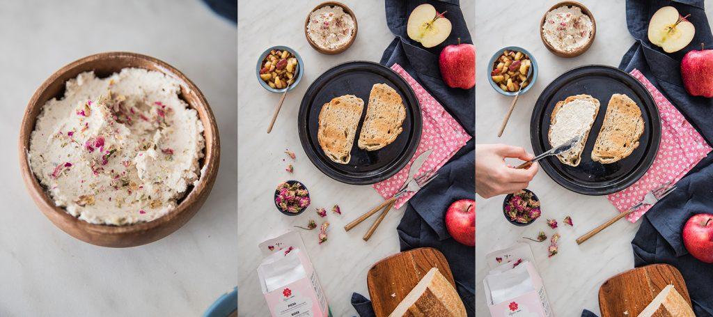 Тост с крема сирене, рози и сотирани ябълки