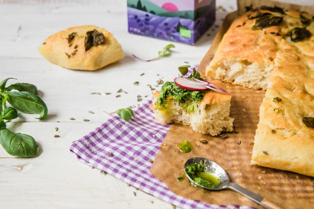 Lavender focaccia with edible flowers