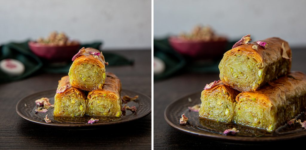 Baklava with rose water and pistachio