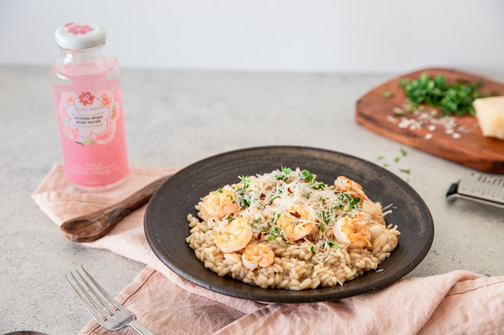 Shrimps and rose water risotto recipe