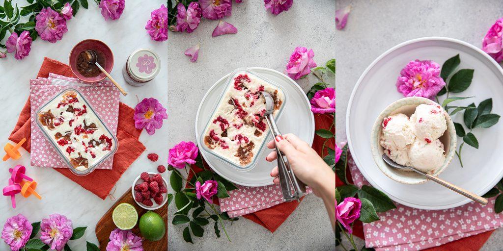 Сметанов сладолед с рози и малини