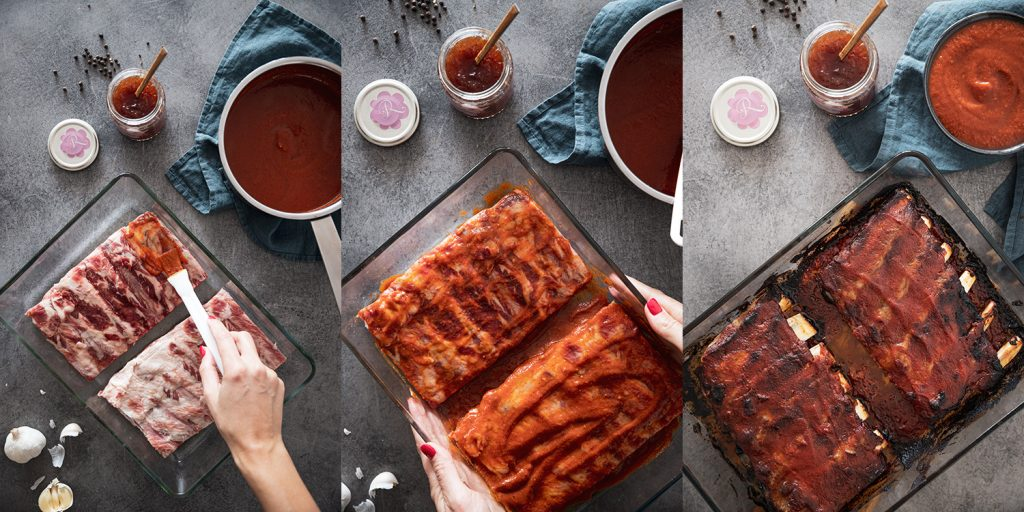 Barbeque sauce with rose and strawberry jam