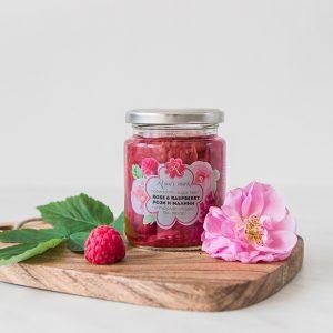 Rose and raspberry jam, organic