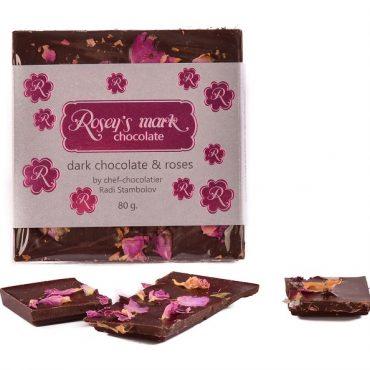 Черен шоколад с рози