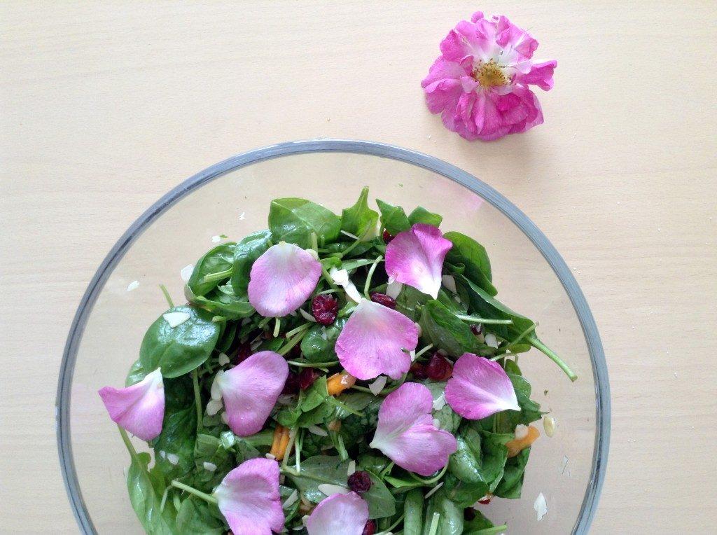 spinach-arugula-roses-salad