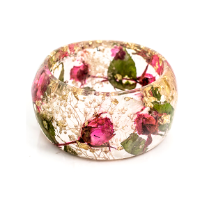 Big bracelet with roses and gold