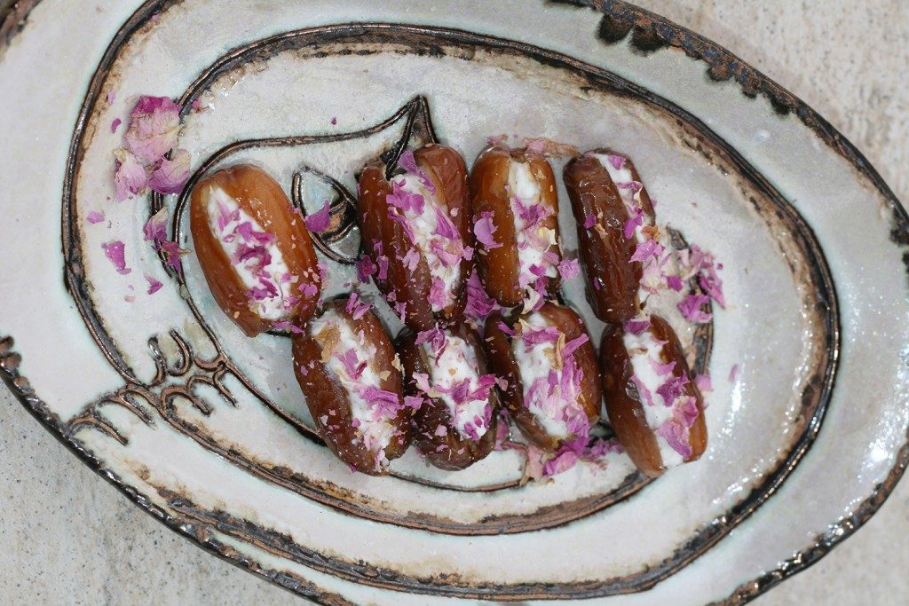 stuffed-dates-with-cheese-and-roses-served
