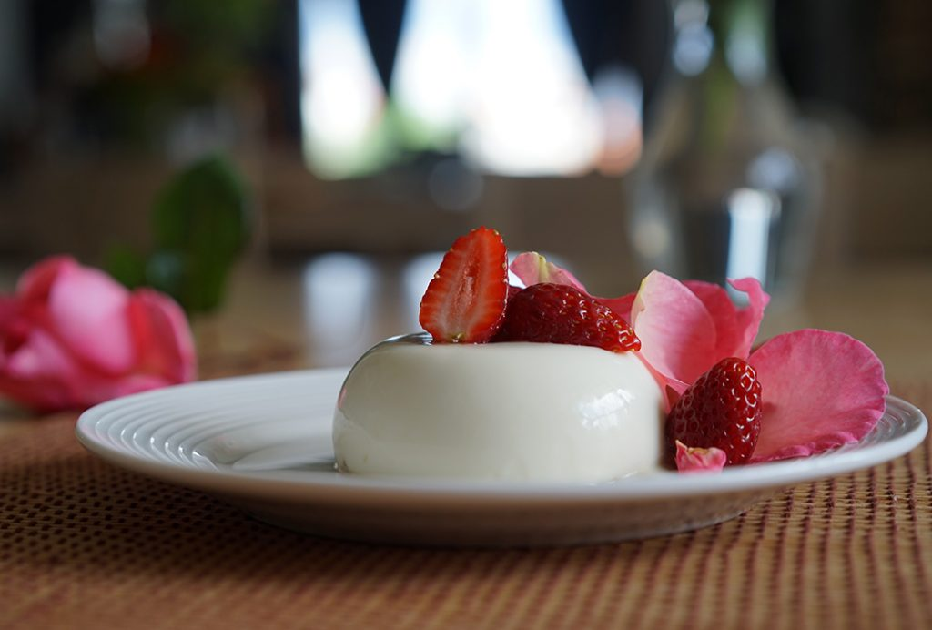 pannacotta with white chocolate and roses recipe
